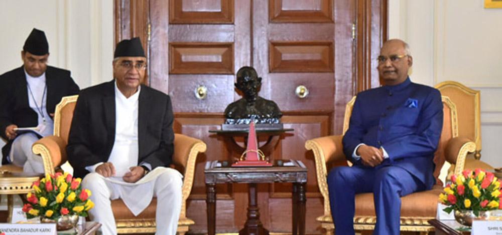 प्रधानमन्त्री देउवाद्वारा भारतीय राष्ट्रपति र उपराष्ट्रपतिसँग भेट