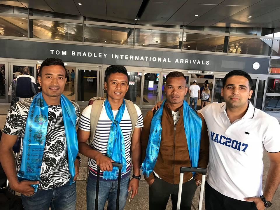 नेपाली फुटबल टिमका कप्तान बिराज महर्जन सहित राष्ट्रिय खेलाडी भरत खवास र नवयुग श्रेष्ठ तेस्रो एनएसी सम्मेलनको लागि अमेरिका आईपुगे