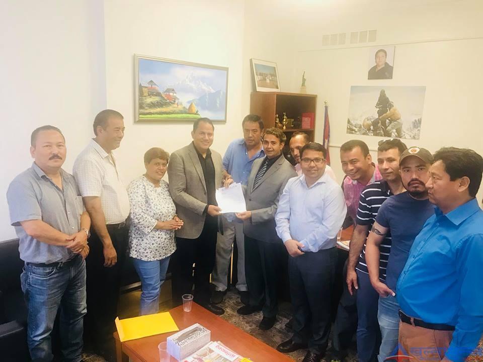 नेपाली जनसंपर्क समिती, अमेरिकाले दुतावासमा ज्ञापन पत्र बुझायो
