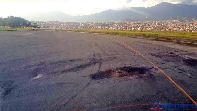 सधैंं उप्किने त्रिभुवन विमानस्थलको रन-वे पिचका पाप्राहरु