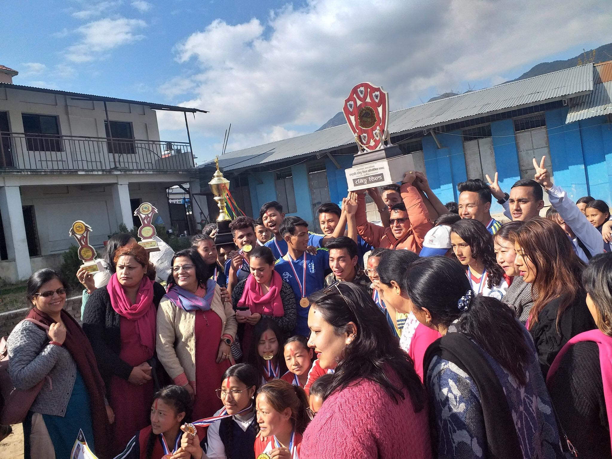 नगर स्तरीय राष्ट्रपति रनिङ शिल्ड प्रतियोगिताको उपाधि चामुण्डा माविलाई