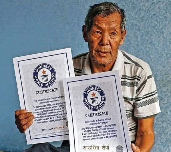 विनाअक्सिजन १०औँ पटक सगरमाथा आरोहण गरी विश्व कीर्तिमान कायम राख्न सफल आङरिता शेर्पाको निधन