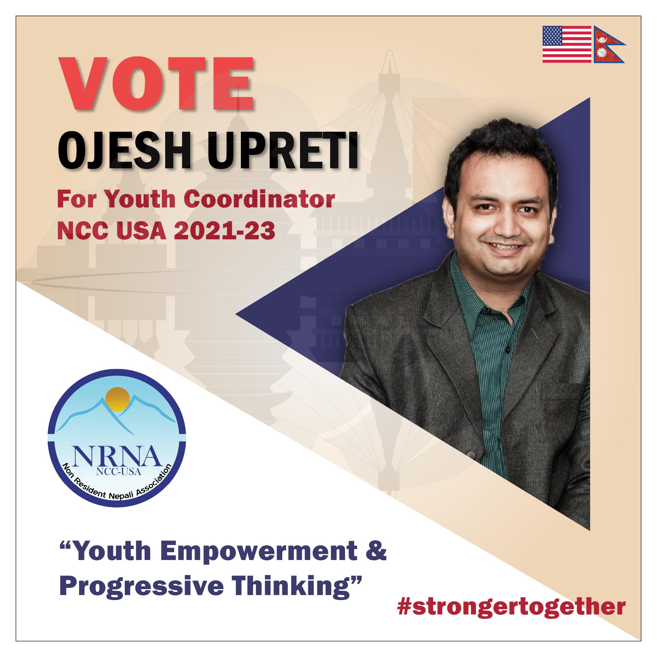 ओजेश उप्रेतीद्दारा एनआरएनए अमेरिकाको युवा संयोजक पदमा उम्मेद्वारी