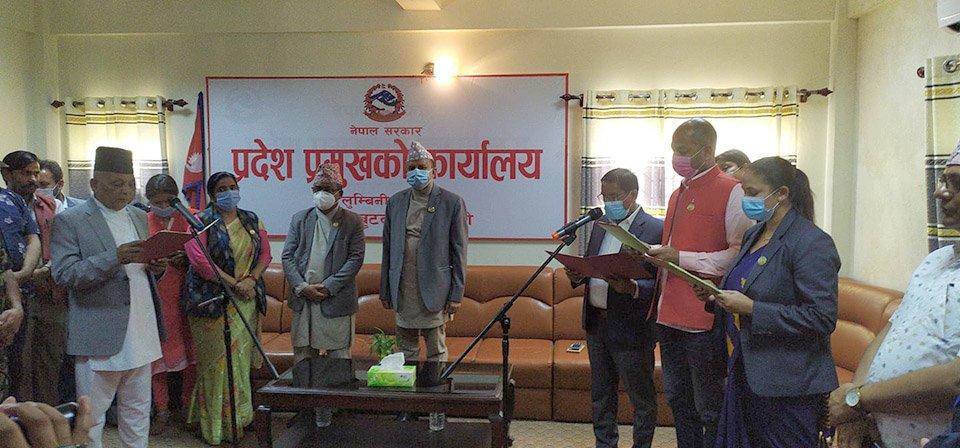 मुख्यमन्त्रीविरुद्ध अविश्वास प्रस्ताव दर्ता भएकै दिन लुम्बिनी प्रदेश सरकारमा चार नयाँ मन्त्रीहरु थपिए